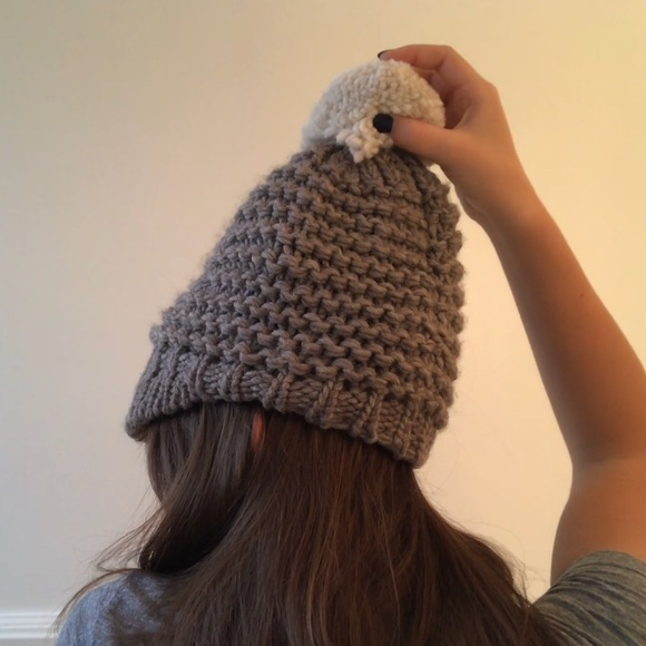 36143effc25 grey knit wool hat with cream puff ball